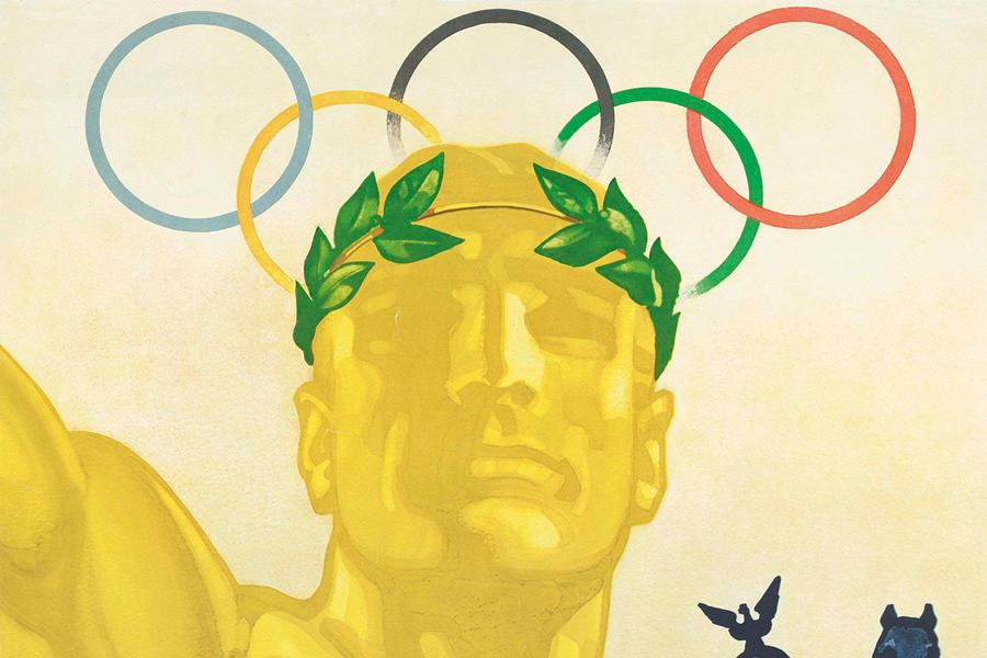Plakat für die Olympischen Spiele Berlin 1936 (Ausschnitt), Entwurf: Franz Theodor Würbel